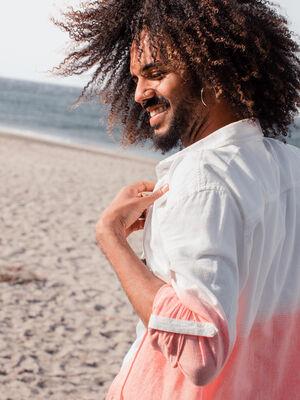 Chemise manches longues orange corail homme