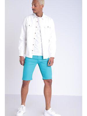 Bermuda ajuste 5 poches bleu turquoise homme