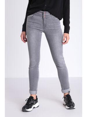 Jeans slim taille fantaisie denim gris femme