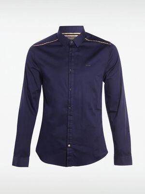 chemise homme unie details dores bleu marine