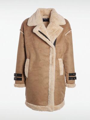 Manteau droit col crante camel femme