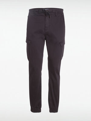Pantalon cargo ceinture cordon bleu fonce homme