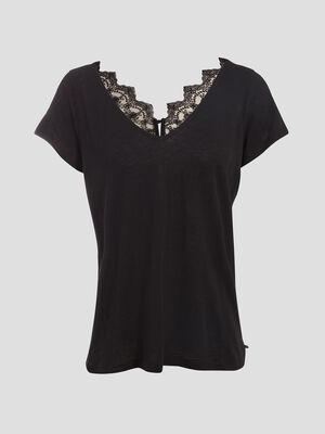 T shirt manches courte noir femme