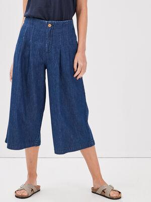 Jean jupe culotte taille tres haute denim stone femme