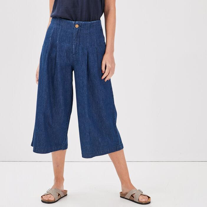 Jean jupe culotte taille très haute denim stone femme