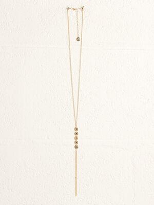 Collier pendentif long couleur or femme