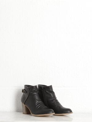 Boots talons facon bois noir femme