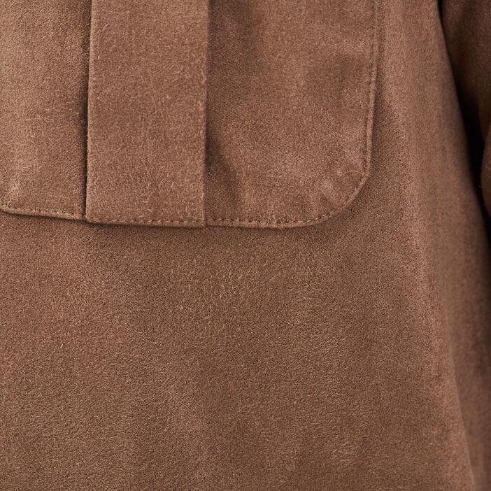 Chemise manches longues marron homme
