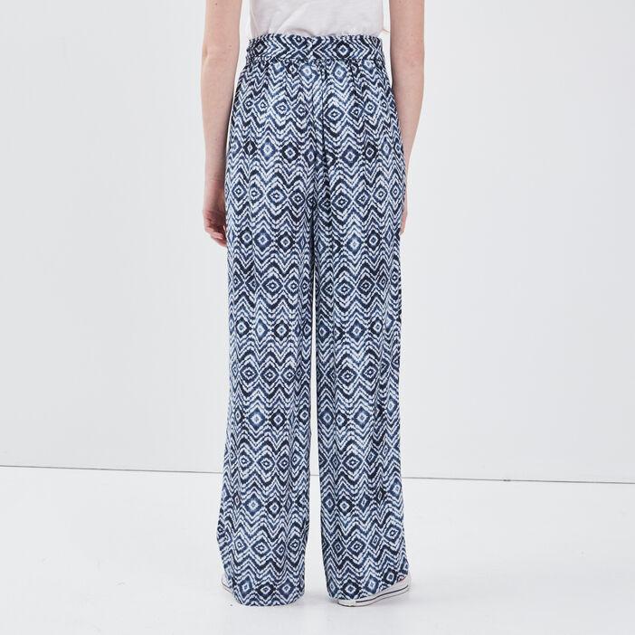 Pantalon large fluide bleu femme