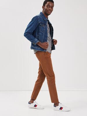 Pantalon chino a ceinture marron homme