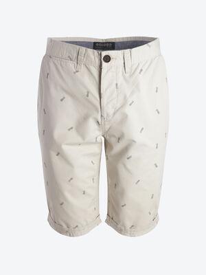 Bermuda chino droit coton blanc homme