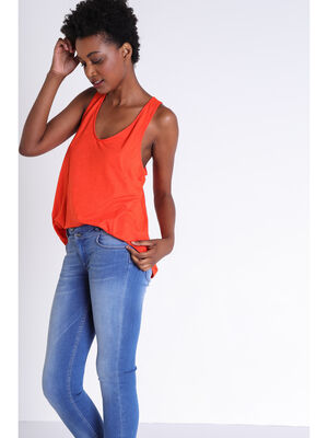 Debardeur macrame orange fonce femme