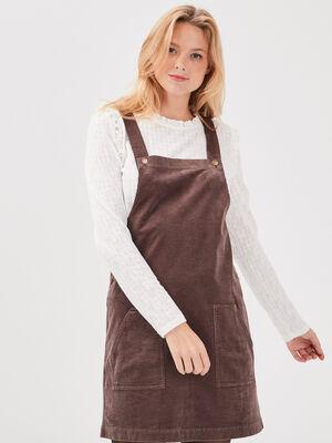 Robe droite velours cotele marron fonce femme