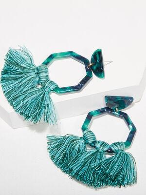 Boucles doreilles pendantes bleu canard femme