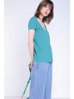 T shirt detail bleu canard femme