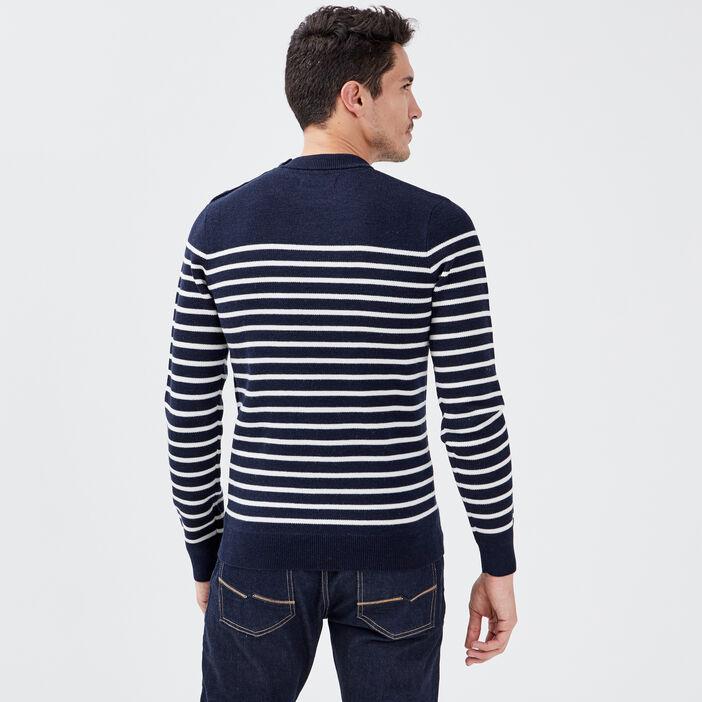 Pull marinière bleu marine homme