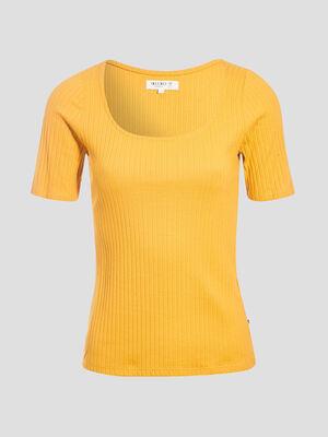 T shirt eco responsable jaune moutarde femme