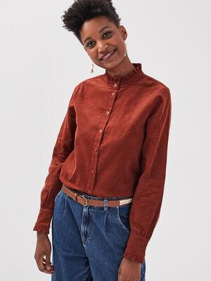 Chemise manches longues marron cognac femme