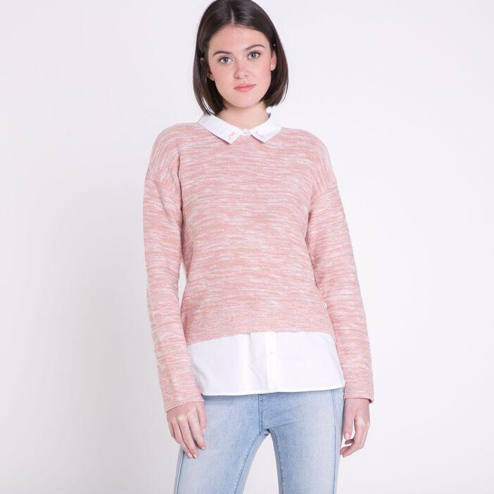 comment chercher plusieurs couleurs livraison gratuite Pull col chemise femme 2-en-1 Instinct VIEUX ROSE | Vib's