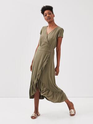 Robe longue eco responsable vert kaki femme