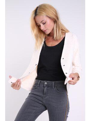 Veste droite en maille chinee rose clair femme
