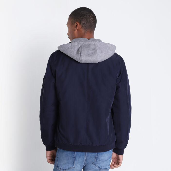 Veste droite zippée à capuche bleu foncé homme
