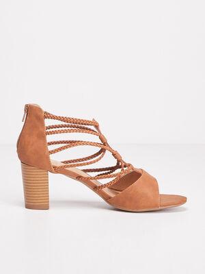 Sandales a talons avec brides marron femme