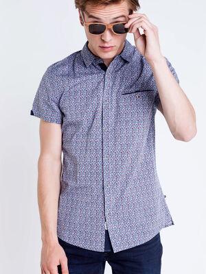 Chemise manches courtes a fleurs bleu pastel homme