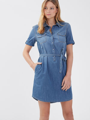Robe droite ceinturee en jean denim used femme