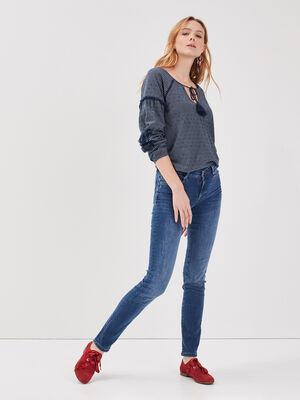 Jeans slim details destroy denim stone femme