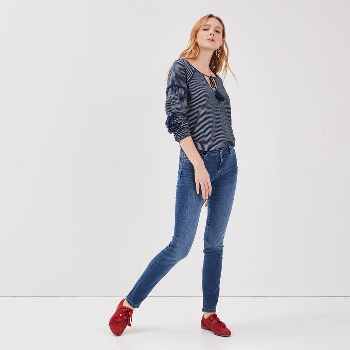 Jeans slim détails destroy denim stone femme