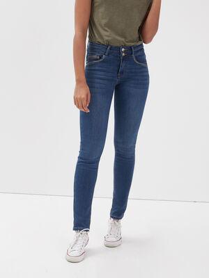 Jeans slim liseres metallises denim stone femme