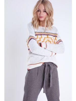 pull col rond femme motif multicolore ecru