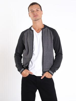 Gilet zippe gris fonce homme