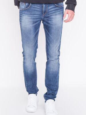 jeans homme slim effet used denim stone