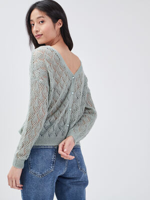 Pull manches longues ajoure vert olive femme