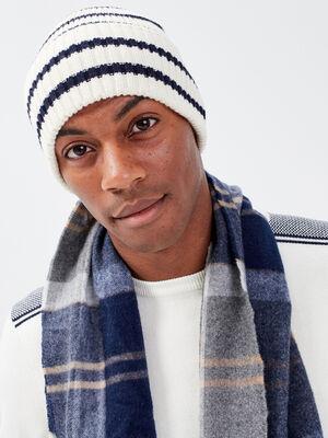 Bonnet tricote blanc homme