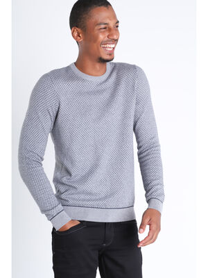 Pull manches longues col rond gris fonce homme