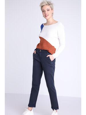 Pantalon chino details metallises bleu fonce femme