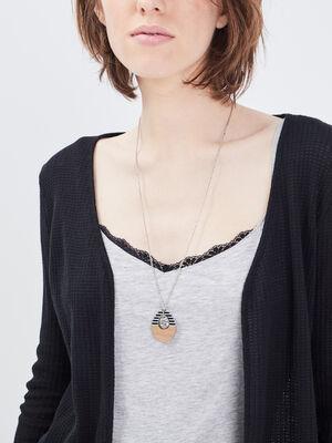 Collier avec pendentif bois couleur argent femme