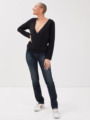 Jeans regular details studs denim brut femme