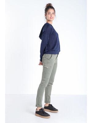 Pantalon slim cargo vert kaki femme