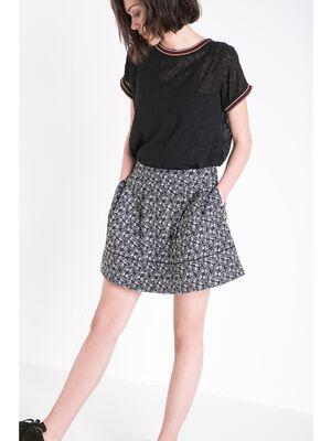 jupe courte evasee femme maille bicolore noir