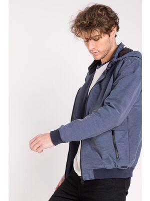 blouson droit homme capuche et poches bleu gris