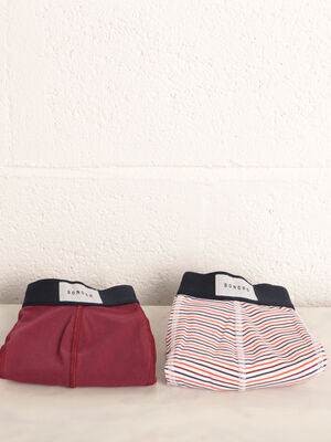 Lot 2 boxers bordeaux homme