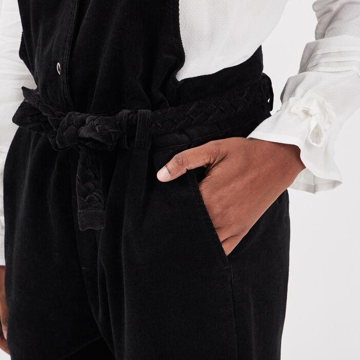Salopette droite ceinturée noir femme