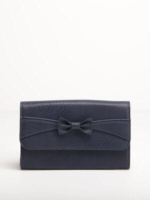 Portefeuille avec noeud bleu fonce femme