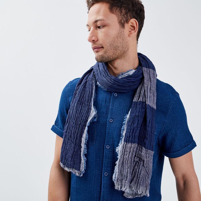 Foulard effet froissé bleu marine homme