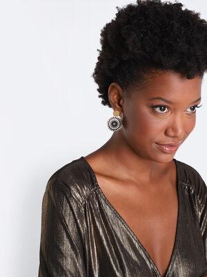 Boucles doreilles pendantes noir femme