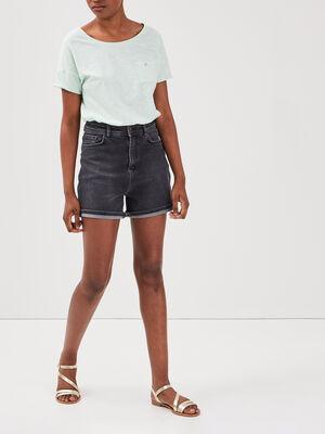 Short mom en jean denim noir femme